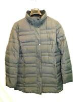 Lands End XL 18 Gray Down Coat Zip Snap Front Quilted Mid Thigh Length Winter XL