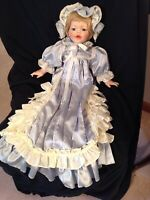 """Porcelain 18"""" Baby Doll with Gorgeous Long Blue Dress & Hat"""