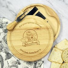 Personalised Wallace & Gromit Logo Wooden Cheese Board & Knives Set Birthday