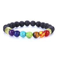 7 Chakra Natural Lava stone Beads Bracelet Elastic Buddha head Bracelet 230