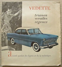 VEDETTE TRIANON - VERSAILLES - REGENCE LF Car Sales Brochure 1955 FRENCH TEXT