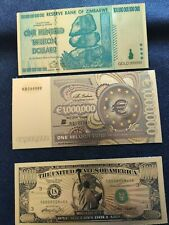 100 TRILLION DOLLARS , A MILLION AMERICAN DOLLARS AND A MILLION EUROS