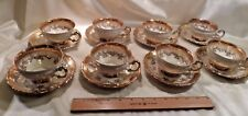 EIGHT VINTAGE MITTERTEICH PORCELAIN TEACUPS-AND-SAUCERS, WHITE W/GOLD FLOWERS