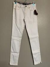 Abbey Dawn White Skinny Jeans Star Ankle Zip Avril Lavigne Pants Women's Size 5