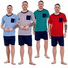 Mens Pyjama Sets Jersey Tee Shorts Crew Neck Pocket Lounge Sleepwear M to XXL