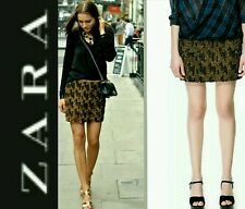 $129 ZARA Brown Gold Sequin Leopard Animal Print Embellish Mini Skirt ~ S M3020