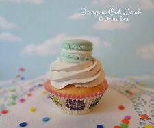 Fake Cupcake Handmade Aqua Blue Macaron Decor Fake Food Kitchen Display