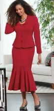 Midnight Velvet Jasmine Peplum Skirt Suit Red / Black Sz 8 10 14 16 16W 20W 24W
