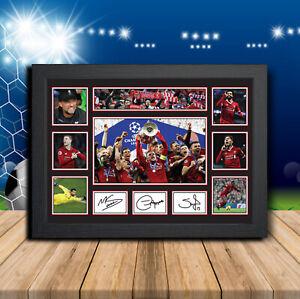 Liverpool Players Salah Firminho Mane Signed Football Print Autographed Gift