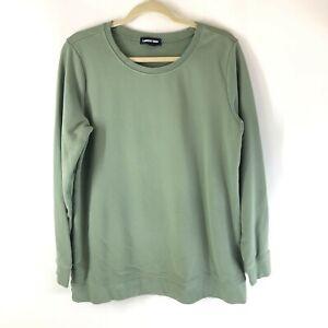 Lands End Womens Sweatshirt Scoop Neck Long Sleeve Pullover Green Size L