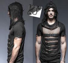 Kapuzen Shirt Oberteil Gothic Punk Destroy Netz Riemen Metal Ringe PunkRave Mann