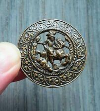 """Bouton ancien XIXe siècle, collection - """"Chasse au sanglier"""" - Diamètre 3,6 cm"""