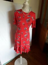 LADIES ASOS RED FLORAL DRESS SIZE 14 T BNWT