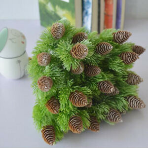 7 Branches Plastic Outdoor Flower Fake Plants Artificial Pine Christmas Decor
