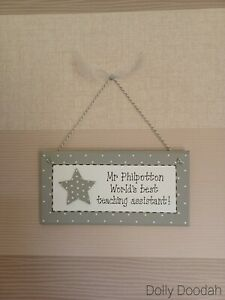 Grey Star World's Best Teaching Assistant Gift Plaque End of Term Sign Present