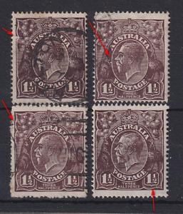 AUSTRALIA  1919: 1½d black-brown KGV minor varieties · see full description
