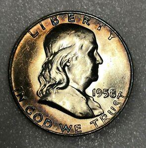1958-D Silver Franklin Half Dollar 50c ~ Lustrous Toned Choice Uncirculated