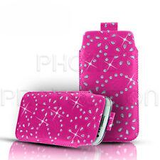 Diamant Bling Leder Pull Tab Case Cover Etui Passt Meisten Sony Ericsson Handys