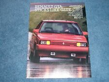 """1987 Renault GTA 2.0L OHC """"Sticks Like Glue"""" Vintage Ad"""
