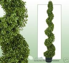 """One ARTIFICIAL 5' 3"""" BOXWOOD SPIRAL TOPIARY IN OUTDOOR TREE POT PLANT BUSH PATIO"""