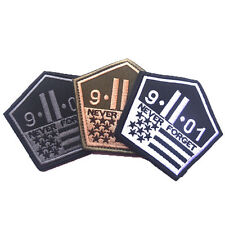 3PCS NEVER FORGET SEP. 11st 9.11.01 911 U.S. TACTICAL PATCHES MORALE BADGE PATCH