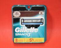 Gillette MACH3 8 Cartridges 3 Razor Blades Genuine Gillette MACH 3 FACTORY SEAL