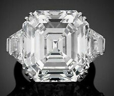 925 Sterling Silver Cz White Asscher Awesome Three Stone Ring Cocktail Party New