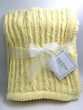 Kids Line Cable Pattern Knitted Yellow Chenille Baby Blanket 102cm by 76cm