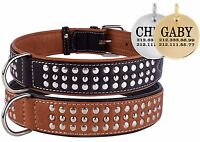 Studded Leather Personalised Dog Collar Brown Black Puppy Optional ID Tag S M L