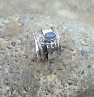 Labradorite Solid 925 Sterling Silver Spinner Meditation Statement Ring Sr725