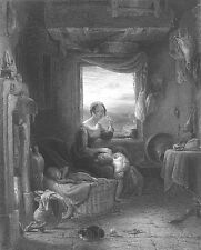 WORRIED WIFE MOTHER & BABY KIDS Wait for DAD COME HOME, 1859 Art Print Engraving