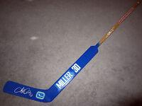 RYAN MILLER Vancouver Canucks SIGNED Autographed Goalie Hockey Stick w/ BAS COA