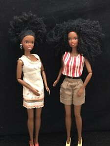 2 AA BARBIE DOLL AFRO African American Black Fashionista Mattel Jointed 1991