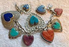 Joan Slifka Sterling Heart Charm Bracelet Incredible Turquoise , Spiny Oyster