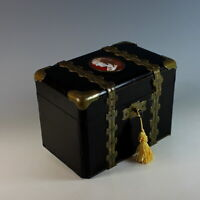 Unusual Napoleon III Black Lacquer Dresser Box with Medallion and Key