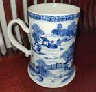 Antique Chinese Blue & White Cobalt Blue Porcelain Large Tankard Stein Hearts