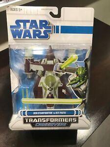 STAR WARS Transformers CROSSOVERS  JEDI STARFIGHTER to KIT FISTO New NIP