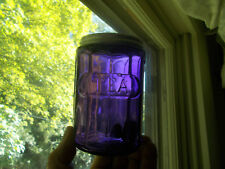 ANTIQUE AMETHYST GLASS EMB TEA JAR WITH ORIGINAL LID FROM HOOSIER CABINET SET