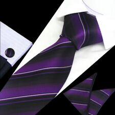 Herren Violett Schwarz Weiß Stripe Seidenkrawatte Taschentuch Manschettenknöpfe