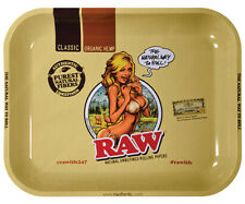 RAW Large Metal Rolling Tray Rolling Paper Girl Logo Tobacco RYO NEW Authentic