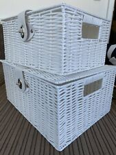 Resin Woven 2 Storage Baskets Hamper White Set Boxes Lid & Lock Toys Chest S+M