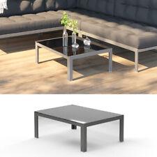 Oskar Alu Gartentisch Glastisch 80x60cm Aluminium Lounge Tisch Beistelltisch