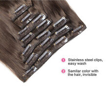 Double Weft Clip in Brazilian 8PCS Remy Human Hair Extensions Real Thick 170g O