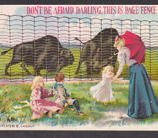 Adrian MI 1800's Wild West Charging Buffalo Page Fence Victorian Lady Trade Card