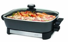 Electric Skillet 16 Inch Pan Portable Oster Stainless Steel Black Frying