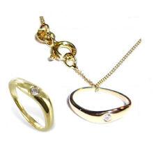 Goldener Taufring Schutzengel herzförmig Zirkonia weiß Taufe echt Gold Taufkette