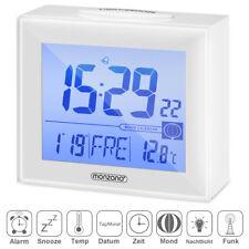 Réveil radio-piloté numérique Blanc Grand écran avec affichage de la température