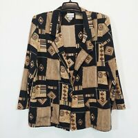 FASHION BUG Womens Beige/Black Blazer Size L Collared Jacket Coat Long Sleeve