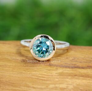 3 Carat Blue Green Moissanite Round Cut Solitaire Bezel Setting Two Tone Ring