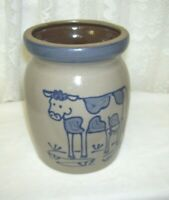 1997 Stoneware Pottery Crock with Blue Cow Design Artist Signed